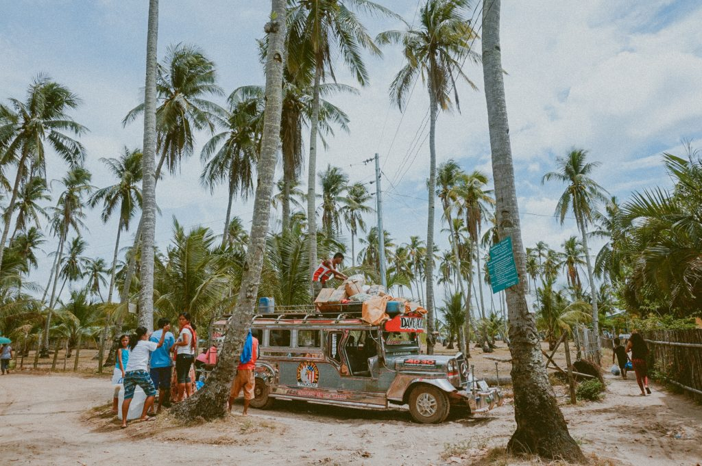 Jeepney on beach in the Philippines