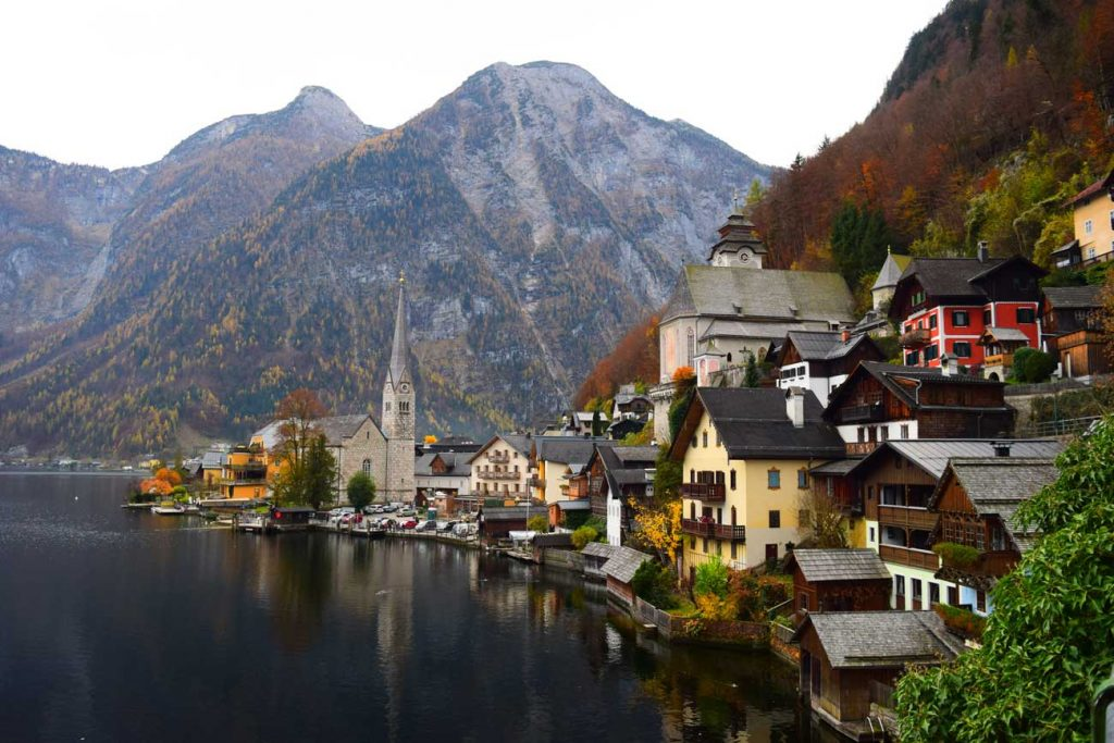City by lake in Austria