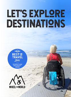 Wheel the World ad with woman in wheelchair on he beach looking at the ocean