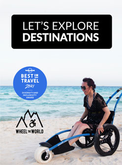 Wheel the World ad with woman in a special beach wheelchair