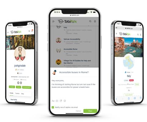 Three iPhones showing the TabiFolk website